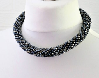 Black/Grey/Blue Seed Bead Choker Necklace/Statement Seed Bead Necklace/Adjustable Extender/Retro Necklace