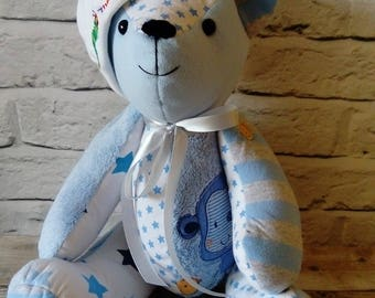 Memory Keepsake Bear - Memory Bear, Weighted Bear, School Uniform, Remembrance Bear, baby clothes bear, stuffed animal keepsake