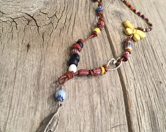 Antique Trade Bead and Feather Necklace