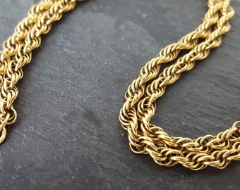 Vintage 9ct Gold Rope Chain Necklace (50cm)