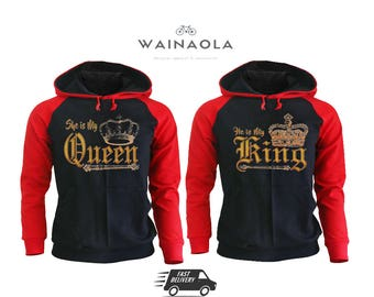 Wainaola He is My King She is My Queen Couple Hoodies King Queen Raglan Hoodies Valentine's Day Couple Matching Hoodies Couple Hoodies