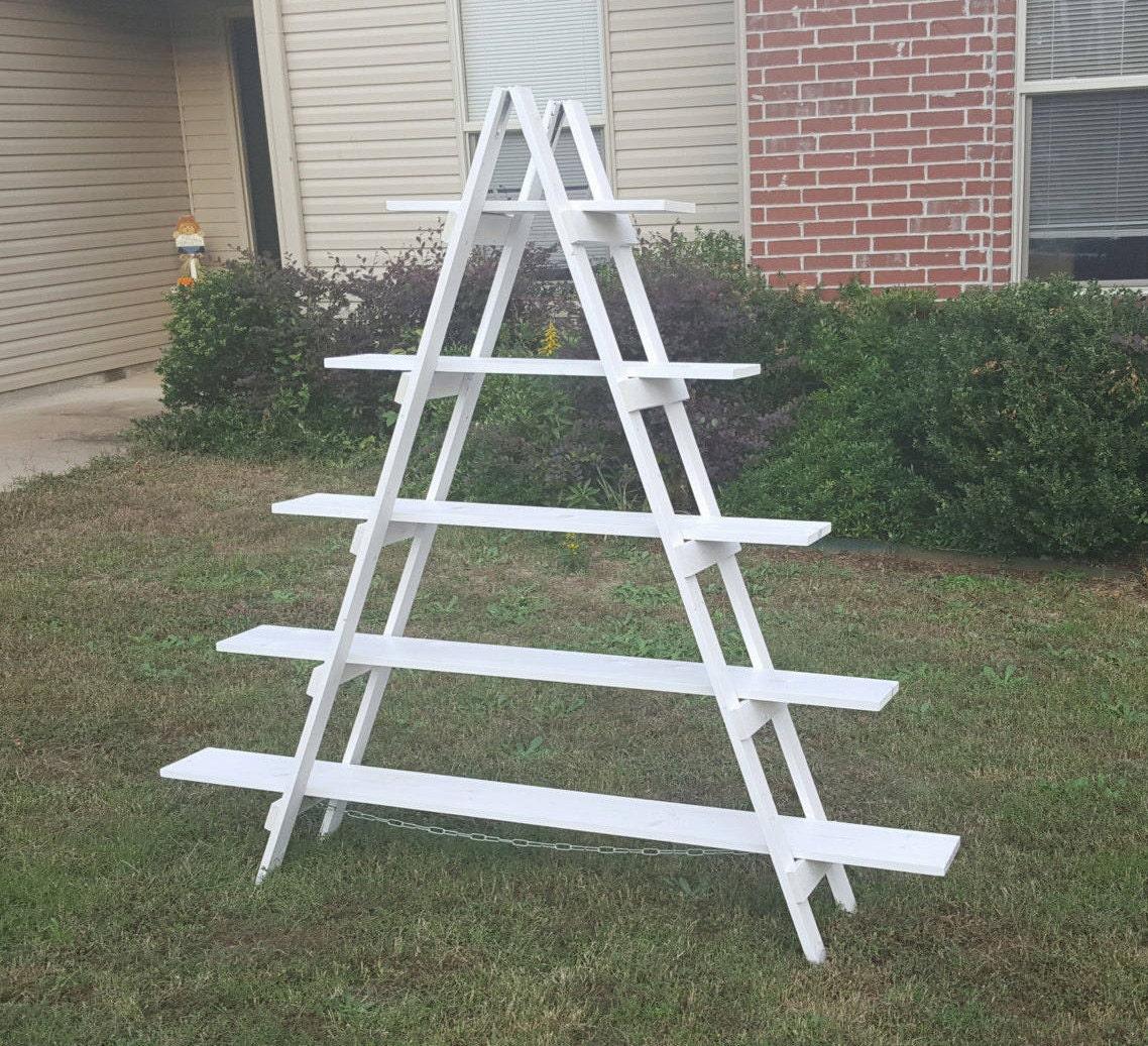 rustic ladder shelf 6 ft wood ladder craft fair display. Black Bedroom Furniture Sets. Home Design Ideas