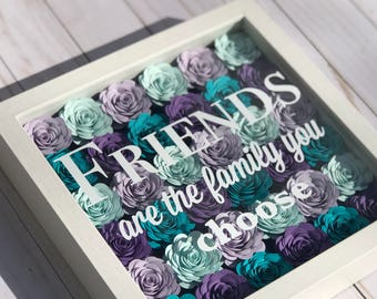 Galentines Day - Long Distance Family - Best Friend Moving - Best Friend Frame - True Friends - Shadow Box Frame - Paper Flower Decor