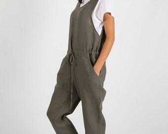 Loose Linen jumpsuit / Gray washed linen jumpsuit/ Washed linen overall/  Linen women romper / Linen clothes/linen jumpsuit women