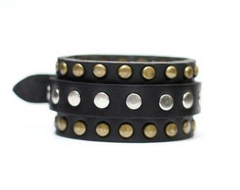 Artisan Handmade Accessory | Black Vegan Friendly Adjustable Triple Studded Row Leather Cuff Bracelet with Silver Bridle Buckle
