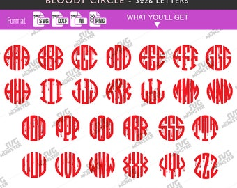 BLOODY CIRCLE FONT Circle Monogram Font Bloody circle svg Halloween font svg bloody svg 3x26 letters for Cricut Silhouette 265