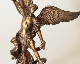 "Archangel Holy Michael Statue Sculpture Vs Lucifer Bronze Finish 4.33"""