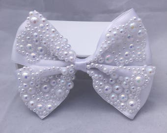 Bridal White Bespoke Large Pearl Embellished Hair Bow Clip