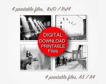 Printable New York City Photographs Set of 4 Prints, Black and White New York Photography, 8x10 11x14 A4