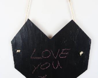 Chalk board Heart Geometric Heart Slate Heart