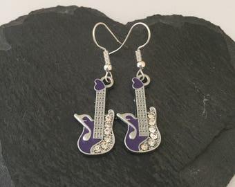 Purple rhinestone guitar earrings / guitar jewellery / guitar gift / music earrings / music jewellery / music lover gift