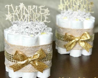 Twinkle Twinkle Diaper Cake, Twinkle Twinkle Baby Shower Centerpiece Decoration Gift, Little Star Gold Lace Burlap, ONE mini cake 1 tier