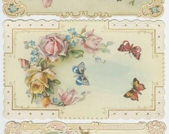 Antique class act 3 card set, Roses, Butterflies and Birds