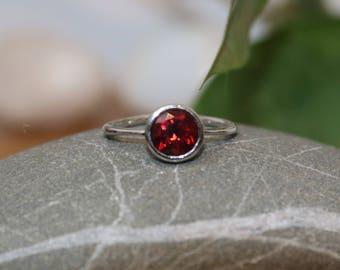 Round Red Garnet Silver Ring