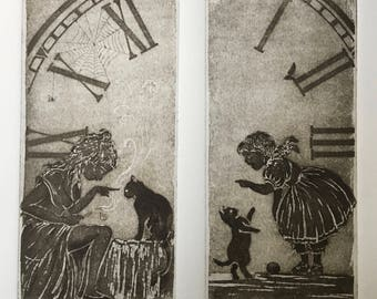 "Engraving ""on the other side of the mirror"" Adventures of Alice in Wonderland/Lewis Carroll country / Through the Looking-Glass/printmaking alice/alice"
