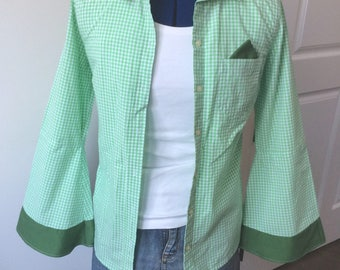 Upcycled Button-Down Shirt - Size XS, Green