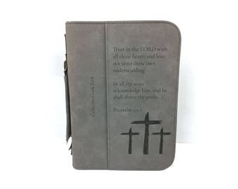 Personalized Bible Cover - Proverbs 3:5-6 Bible Case - Imitation Leather