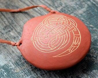 "two chamber ocarina ""Serpent"" / C minor ocarina/ ceramic musical instrument/ handmade ocarina/ tuned in pentatonic"