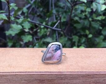 Silver Rhodonite Ring / Sterling Silver Ring Size 10.75 / Large Rhodonite Ring / Big Rhodonite Ring / Pink Stone Ring /  Pink Gemstone Ring