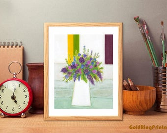 Downloadable Floral art,still life art,abstract,office & home room décor,printable wall art print,instant digital download,purple green teal