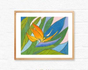 Bird of paradise,downloadable floral art,still life floral printable,botanical,Printable wall art print,instant digital download,orange teal