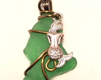 Vivid Green Sea Glass Pendant With Mermaid Charm