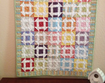 Bright Squares and Stripes, Wall Hanging Quilt, Table Topper Quilt, Muliticolored, Churn Dash Quilt, Play Quilt, Picnic Quilt, Tea Party