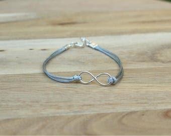 Silver Bracelet, Homme, Infinity, Mens, Friendship, Boyfriend, For Him, Gift, Boho, Best Friend, Jewelry, Gray, Cord, Bohemian, Man