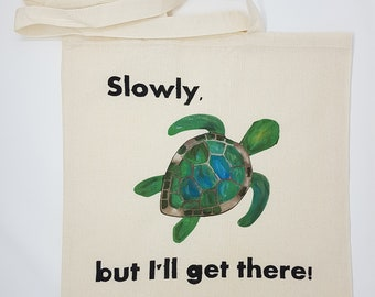 "Tote bag ""turtle"", cotton bag, shopping bag, shoulder bag , reusable bag,  hand painted bag, canvas bag"