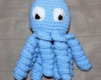 Crochet Blue Octopus, Amigurumi Octopus, Newborn Toy, Nursery Decor, Newborn Toy, Preemie Octopus, Baby Shower Gift, Stuffed Octopus
