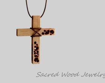 Carved Cross - Wood Cross - Wooden Cross - Handmade Cross - Cross necklace - Cross Pendant - Cross jewelry - Art Cross - Boho Style Cross