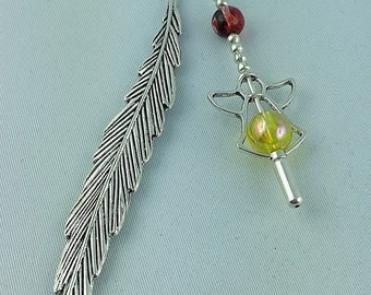 Unique, Handmade, Bookmark Bookmark, Pendant, Guardian Angel Pendant, Bookmark with Crystal Beads, Angel Feather Wings, Made for Angel