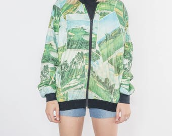 Vintage 90s Green Forest Bomber Jacket