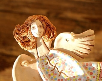 Ceramic Angel sculpture Clay miniature sculpture Angel Gift for her Pottery angel Handmade angel ceramic