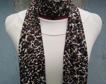 Extra Long Scarf - Skinny Scarf - Animal Print Scarf - Leopard Print Scarf- Exotic Print Scarf - Long Scarf - Long Brown Scarf