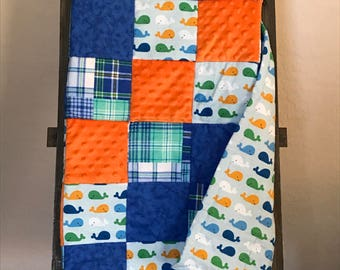 Baby Whale Patchwork Baby Quilt