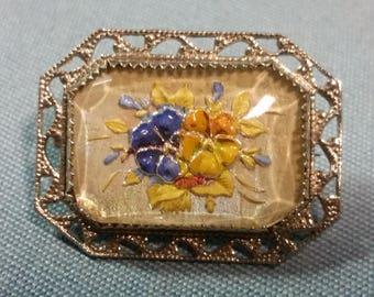 Vintage Lucite Floral Brooch