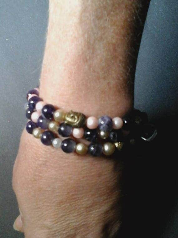 Amethyst Beads, Glass Pearls and Tibetan Silver Buddha Head beads Cuff, Three Strand Memory Wire Cuff, Amethyst Beads Cuff for Her