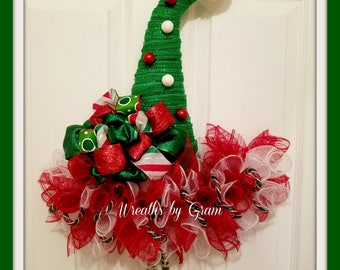 Elf Hat Wreath, Christmas Wreath, Elf Wreath, Christmas Decor, Elf Decor, Holiday Wreath, Christmas Elf Hat Wreath, Gift for Her, Gift Ideas