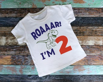 Roaaar! I'm 2 Shirt - Adorable youth shirt Raglan Shirt , baseball tee, saying shirt, school shirt, roaaar, two years old