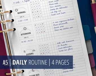 Daily Routine Planner Printable, Morning Routine Checklist, Flylady Before Bed Routine, Home Management Planner Insert, Household printables