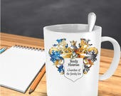 FAMILY HISTORIAN - Guardian of the Family Tree: great family gift, elaborate gothic shield on mug, humorous award. Also as a PRINTABLE