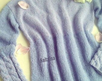 "Pullover ""Lilac"". Lilac sweater. Lilac pullower. Cozy sweater. Silk sweater. Violet sweater. Purple sweater."