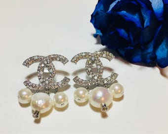 Silver Chanel Earrings with Stones and Pearls