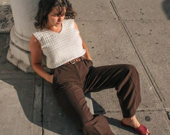 """Vintage Wool High Waisted Bell Bottoms 