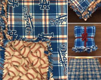 LARGE LA DODGERS Handmade Fleece Tie Mlb Blanket | 55x65 | Los Angeles Dodgers Baseball Fan
