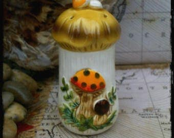 Vintage Individual Shaker for Salt, Spice in Merry Mushroom Design by Sears