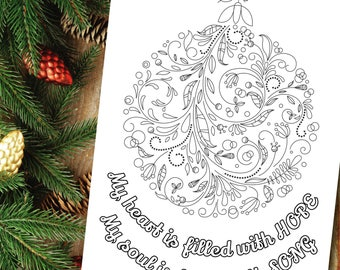 Affirmation, Christmas Quote Printable, Xmas Coloring, Adult coloring pages PDF, Positive Affirmation, Mental Health, Digital Download