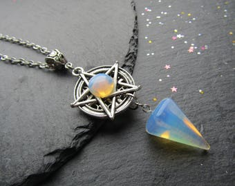 White Witch Necklace with Opalite, Opalite Necklace, Pagan Necklace, Wicca Necklace, Pentacle Jewelry, Pagan, Wicca, Pentagram, Witchcraft