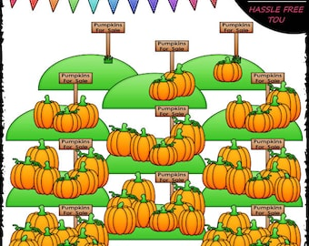 Counting Pumpkins (0-10) Clip Art and B&W Set